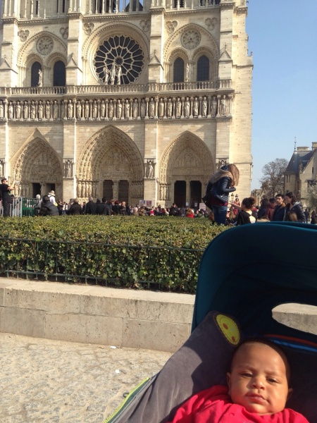 A very cute baby at Notre Dame.