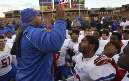Elijah Brooks has led the Stags to back-to-back WCAC titles. DeMatha Football photo.